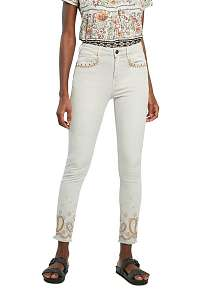 Desigual biele nohavice Pant Ankle Paisley