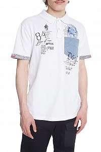 Desigual biele pánske tričko Polo Brendan