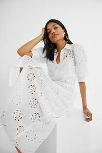 Desigual biele šaty Noria s madeirou