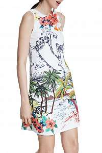 Desigual biele šaty Vest Tropical Pacific