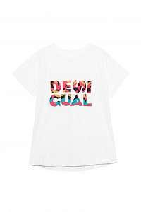 Desigual biele športové tričko TS CO Etchnic s farebným logom - L