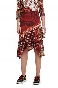 Desigual červená sukňa Fal Indira s farebnými motívmi - M