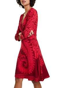 Desigual červeno-ružové áčkové šaty Vest Marlene - M