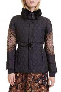 Desigual čierna bunda Padded Agu -