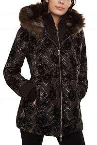 Desigual čierna bunda Padded Eylau so zlatými detailmi  -