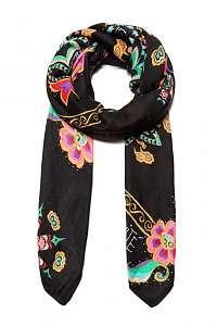 Desigual čierna šatka Foul New Tapestry s farebnými motívmi