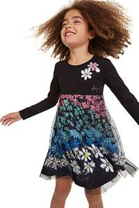 Desigual čierne dievčenské šaty Vest Oaxaca s farebnými motívmi - 13/14