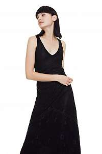 Desigual čierne maxi šaty Vest Lamar - L