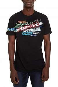 Desigual čierne pánske tričko TS David s nápismi - XXL