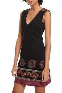 Desigual čierne šaty Vest Amelie s farebnou potlačou - XL