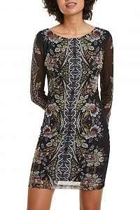 Desigual čierne šaty Vest Eyre s farebnými motívmi - XL