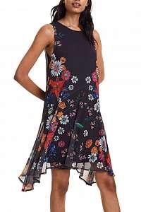Desigual čierne šaty Vest Francine s farebnými motívmi - XXL