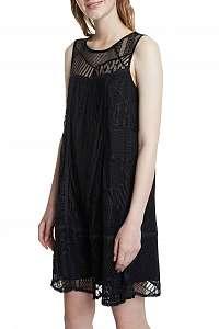Desigual čierne šaty Vest Keira s čipkou
