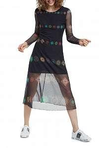 Desigual čierne šaty Vest Kingston s transparentnými rukávmi