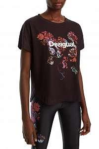 Desigual čierne športové tričko TS Tee Oversize Patch s farebnými motívmi - L