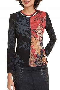 Desigual čierne tričko TS Julie s farebnými motívmi