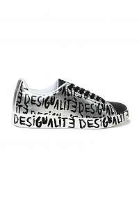 Desigual čierno-biele tenisky Shoes Cosmic Desigualité s nápismi -