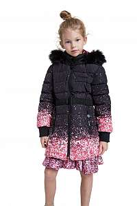 Desigual čierny dievčenský kabát Chaq Aguacate
