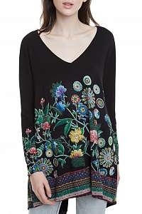Desigual čierny sveter Jers Danae s farebnými motívmi