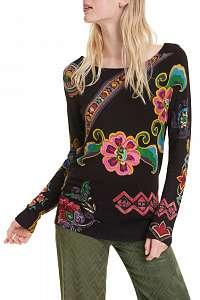 Desigual čierny sveter Jers Kira s farebnými motívmi - M