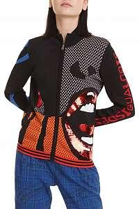 Desigual čierny sveter Jers NY s farebnými motívmi - M