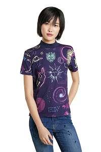 Desigual fialové tričko Cosmos