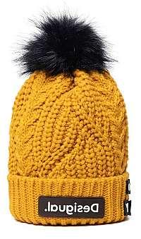 Desigual horčicové čiapka Hat Messages s brmbolcom