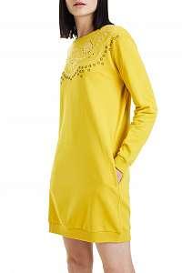Desigual horčicové šaty Vest Glory - XXL