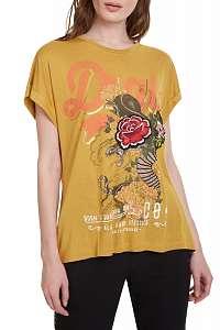 Desigual horčicové tričko TS Ella - XXL