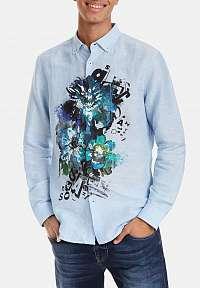 Desigual modrá ľanová košeľa Man Template 1 color - XXL