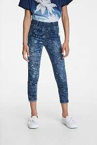 Desigual modré dievčenské nohavice s obrázkami