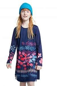 Desigual modré dievčenské šaty Vest Florecillas