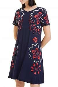 Desigual modré letné šaty s farebnými motívmi - M