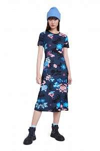 Desigual modré šaty Vest Bouquet
