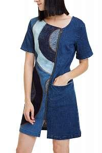 Desigual modré šaty Vest Geo so vzormi -