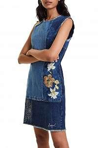 Desigual modré šaty Vest Ilona s výšivkami -