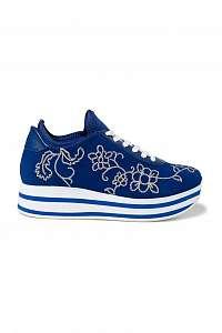 Desigual modré tenisky na platforme Shoes Platform Floral Chain -