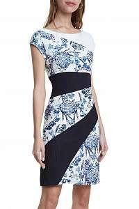 Desigual modro-biele šaty Vest Detroit
