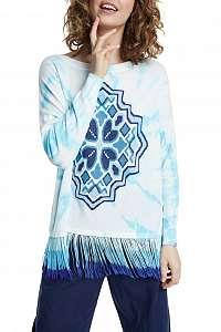 Desigual modrý batikovaný sveter Jers Chandigarth