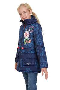 Desigual modrý dievčenský kabát Chaq Pera - 13/14