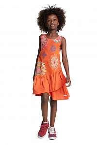 Desigual oranžové dievčenské šaty Vest Chicoloapan