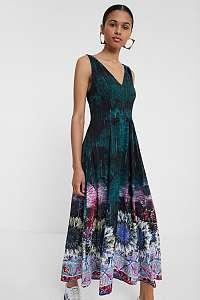 Desigual petrolejové maxi šaty Vest Florencia