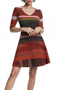 Desigual pruhované áčkové šaty Vest Filadelfia
