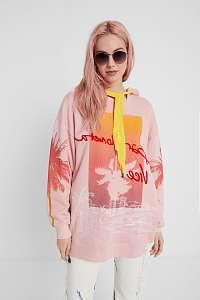 Desigual ružovo-žltá oversize dámska mikina Sweat Tropical Barceloneta