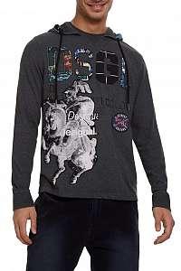 Desigual sivé pánske tričko s kapucňou TS Eduard - XXL