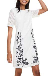 Desigual smotanové čipkované šaty Vest Recreo -