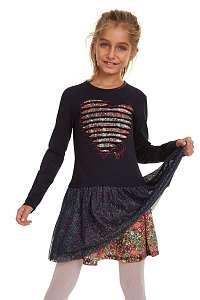 Desigual tmavomodré dievčenské šaty Vest Xico - 13/14