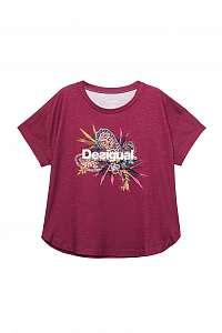 Desigual vínové športové tričko TS Tee Oversize Ethnic s farebným logom - M