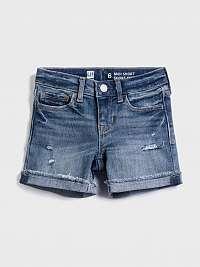 Detské džínsové kraťasy distressed denim midi shorts with stretch Modrá