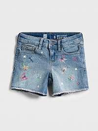 Detské džínsové kraťasy embroidered midi shorts with stretch Modrá